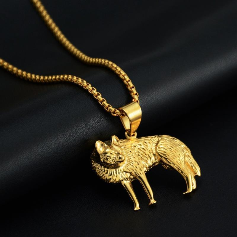 New Goofan Hiphop Edelstahl Fox Kettenhalsketten-Anhänger für Männer Frauen Schmuck Mode Fox Halskette Gold Farbe