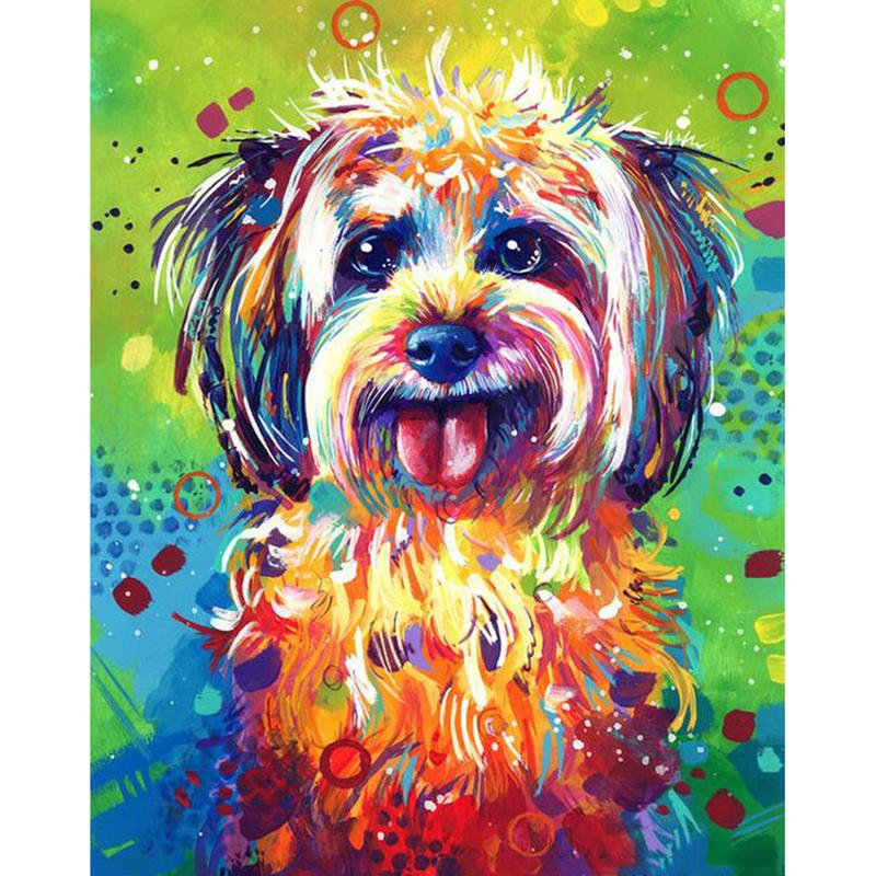 Naughty Dog Full Drill 5D Diamond Round Rhinestone Embroidery Painting DIY Cross Stitch Kit Mosaic Draw Home Decor Gift
