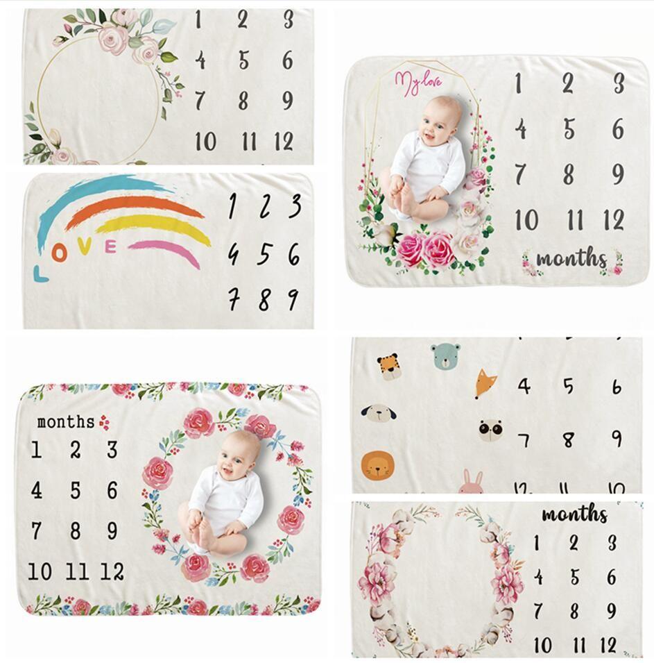 70 * 100 centímetros Blanket Background Fotografia Infante recém-nascido bebê cobertores Milestone Flor número de gavetas Carta Swaddling Enrole LJJP243