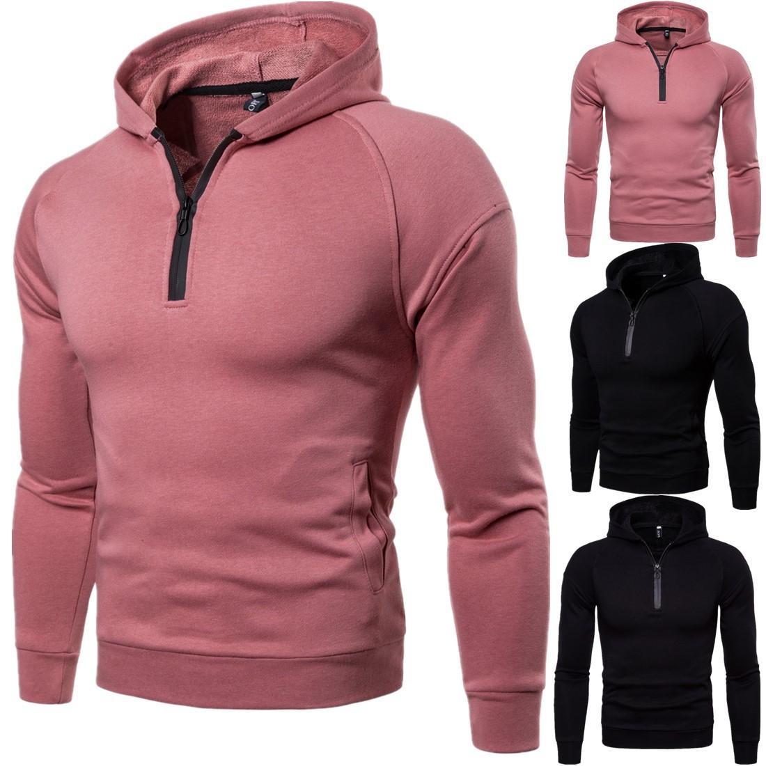 Erkek Kapüşonlular 2020 Yeni Geliş Moda Günlük Yüksek Kalite Uzun Kollu O-Boyun Tişörtü Pembe Siyah PH-SL200623