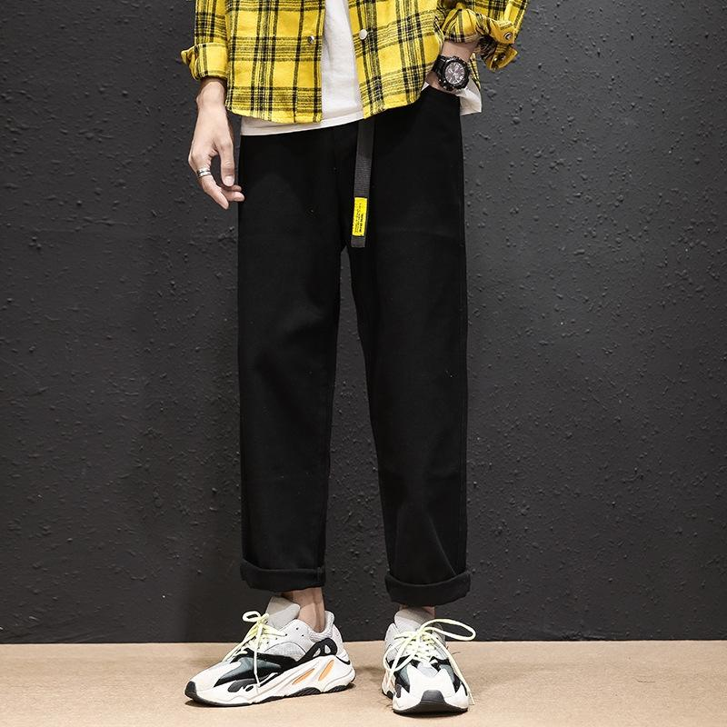 simples de style japonais pantalon lâche jambe droite pour les jeunes étudiants avec des jeans et des jeans de coton hommes à la mode de ceinture