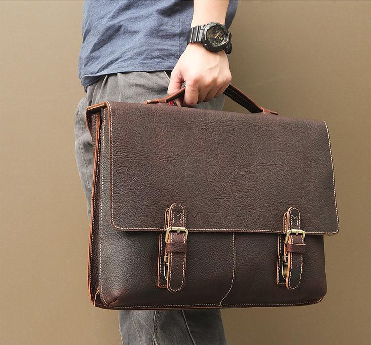 MAHEU hombres bolso de la cartera del ordenador portátil bolso de cuero genuino para 17 pulgadas de capa doble de Trabajo totalizadores para los hombres Capa de Mano