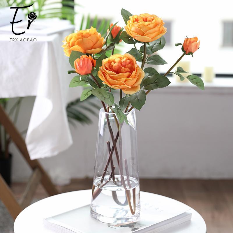 Erxiaobao 2 головки Peony Rose Искусственные цветы Розовый Белый Желтый Поддельные Шелковый Свадебные украшения Fall для дома