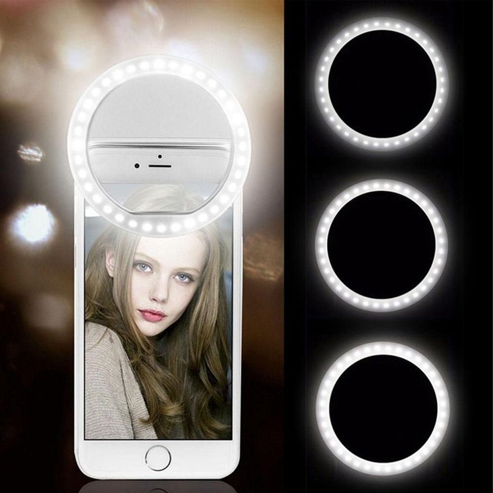 USB Charge LED Selfie Ring Light عدسة الهاتف المحمول LED Selfie Lamp Ring for iPhone لسامسونج Xiaomi Phone Selfie Light