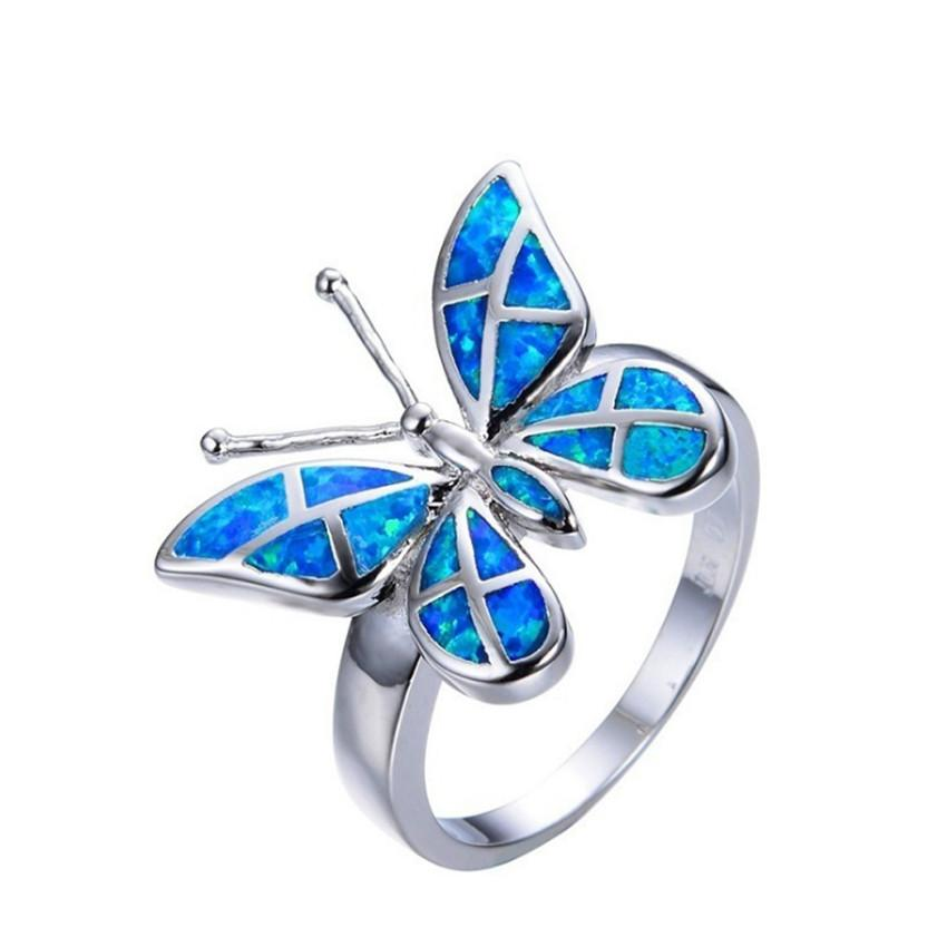 10 piezas de plata plateado forma de la mariposa de muchos colores del anillo de dedo por Opal Opalite joyería de las mujeres de moda