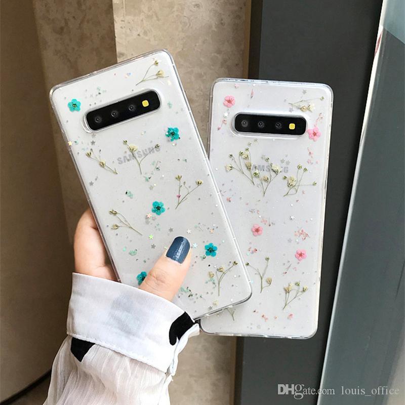 Мода Real Dry Flower чехол для Samsung Galaxy Note10 Pro S10 9 Plus Clear Case Мягкая задняя крышка мобильного телефона Shell