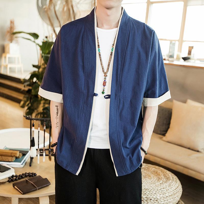 Geleneksel Çin Giyim İçin Erkekler Oryantal Erkek Wushu Giyim Çin Pamuk Keten Gömlek Kısa Kollu