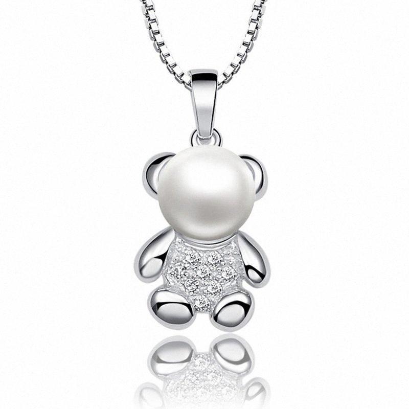 Sinya 925 قلادة من الفضة مع سلسلة للمرأة المياه العذبة الطبيعية اللؤلؤ سحر قلادة قلادة جميلة تصميم دب مجوهرات m8SP #