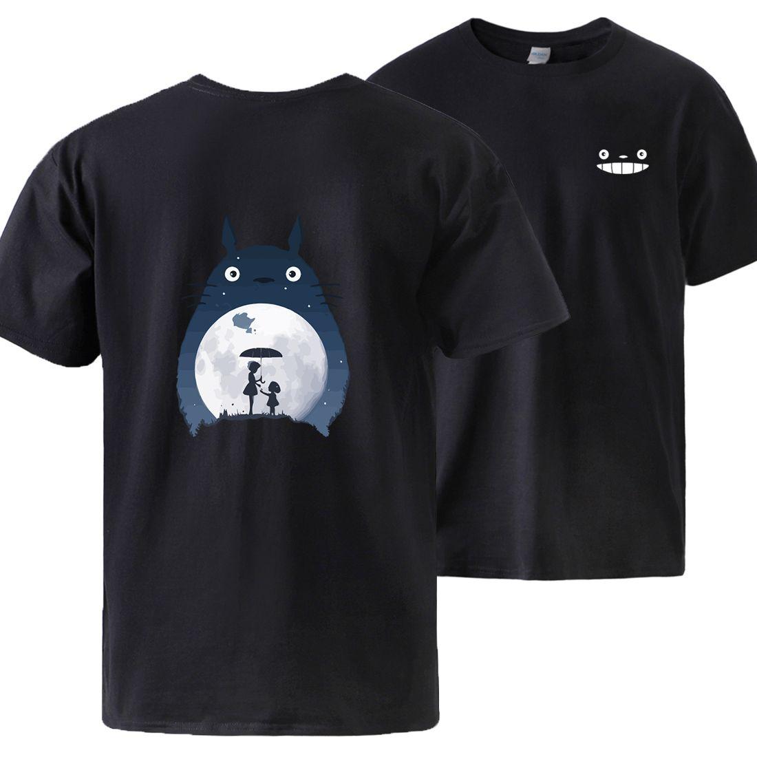 Totoro Cartoon Kurzarmshirts Cotton Print Sommer-T-Shirt 2020 Mann Marken-Qualitäts-Japan Anime-Druck-T-Shirts Top-lose T