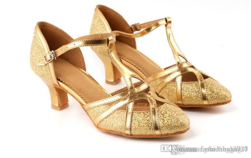 Latina Tango Dancing Shoes Mulheres para a menina de salão interior Sapatos Heel Hight 5,5 centímetros