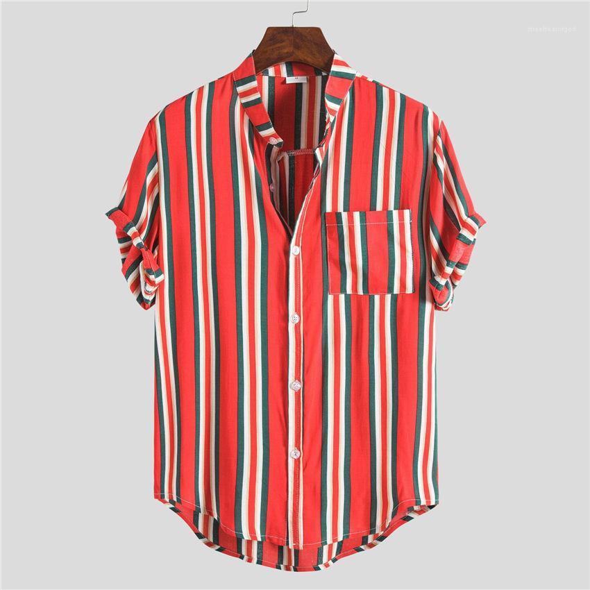 Moda suelta Homme Tops rayada Beach Mens del verano caliente de la solapa de manga corta cuello sirven las camisas casuales