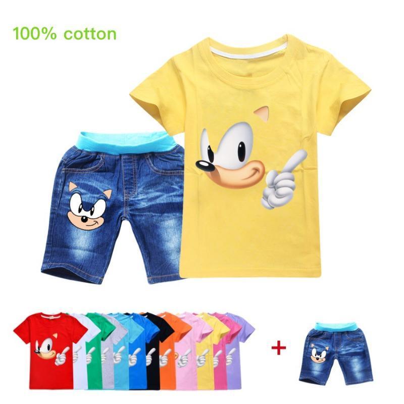 3.28 ملابس أطفال O-الرقبة القطن البوليستر + القنفذ سونيك كبير funning بنين T شيرت + السراويل الجينز البدلة القمم فتاة مجموعة طفلة