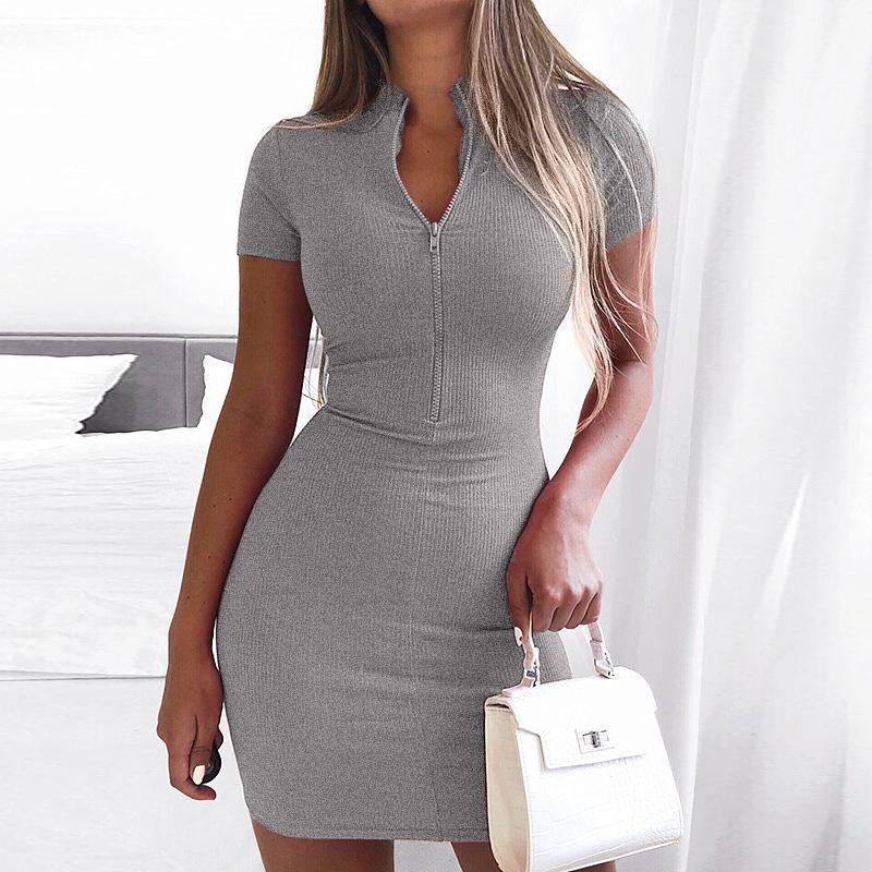 Le donne vestito sexy da estate Zip lavorato a maglia dolcevita Magro Fashion Club manica corta Rib Vestitino Donne