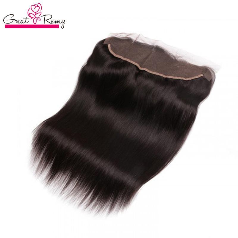 Greatremy® 13x2 orelha à orelha Encerramento Virgin brasileira cabelo Lace frontal reta de seda Humano Hairpieces 3 Way Parte 8-20inch Cor Natural
