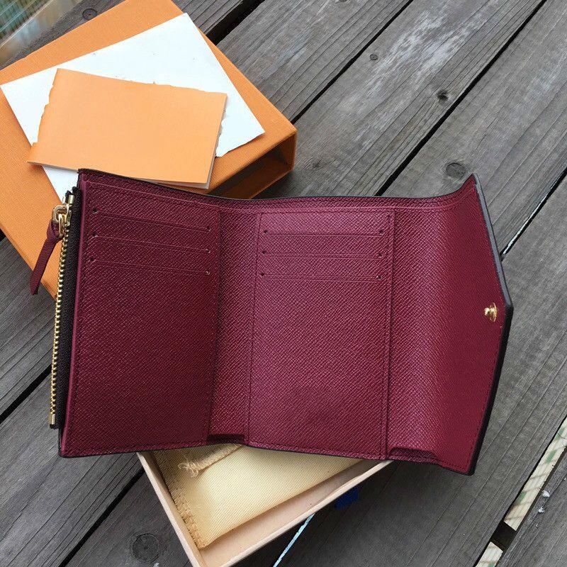 Tarjeta de cuero de alta calidad para mujeres Color clásico para el soporte de la billetera de la cartera de la cartera de la señora bolsillo de la cremallera corta con la caja de las mujeres 160m Multi T31E CCGJA
