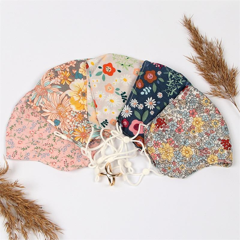 Cotton Flowers Printed Respirator Land Gesichter Masken Iced Seide Waschbare Breathing Mascarilla Art und Weise wiederverwendbare kundenspezifische Anti-Staub 4yc C2