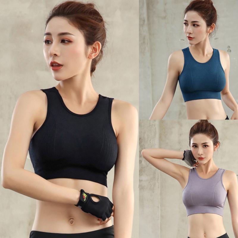 Senza soluzione di continuità Reggiseno sportivo Top Women Fitness Corsa Crop Tops Workout Rosa imbottito di yoga del reggiseno di alta Activewear Impact