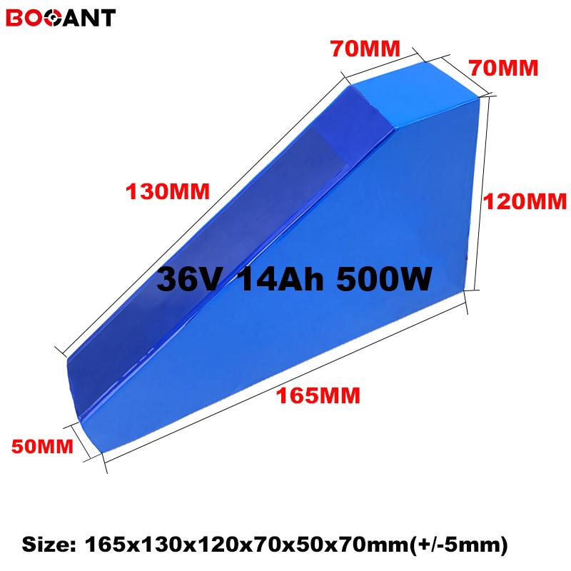 small triangle lithium battery 36V 14Ah 500W for Sanyo 18650 cell 10S electric bicycle Bafang 250W motor
