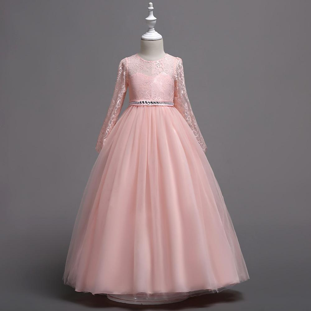 공주 꽃 소녀 의식 드레스 긴 소매 레이스 웨딩 생일 파티 어린이 드레스를 들어 여자 어린이 Costum T200709