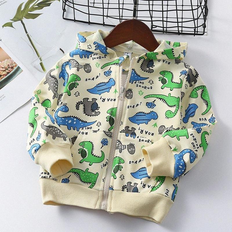 Bambini Coat dinosauro del fumetto intero Stampa 2020 della molla piccole e medie bambini Hood Zipper Jacket Kid Giacche invernali Parka 21HY #