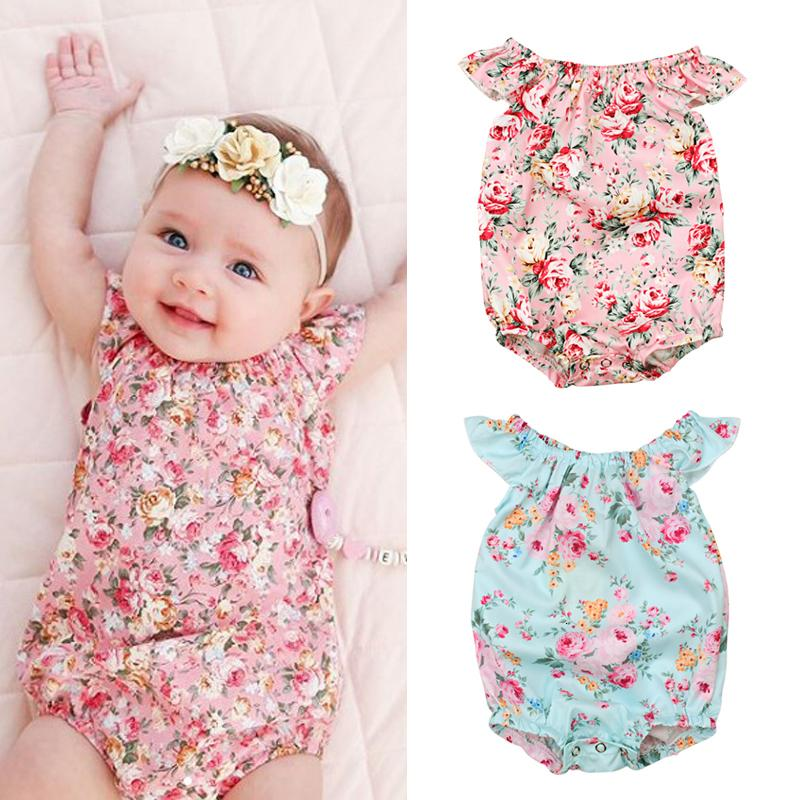 2018 Fashion Cute Girls Summer Toddler Girls Kids Floral Sleeveless Print Overall Romper Jumpsuit Clothes 4-24M
