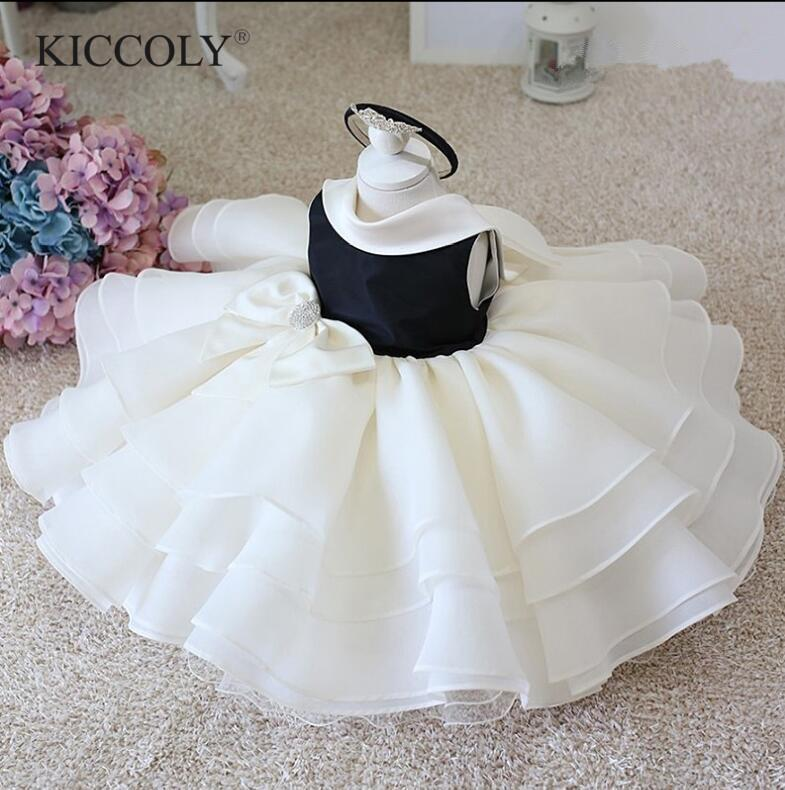 Infant Baby Clothes Lace Beads Bow Newborn Baptism Dress For Baby Girls Party Christening Dresses 1 Year Birthday Infant Outfits CX200803