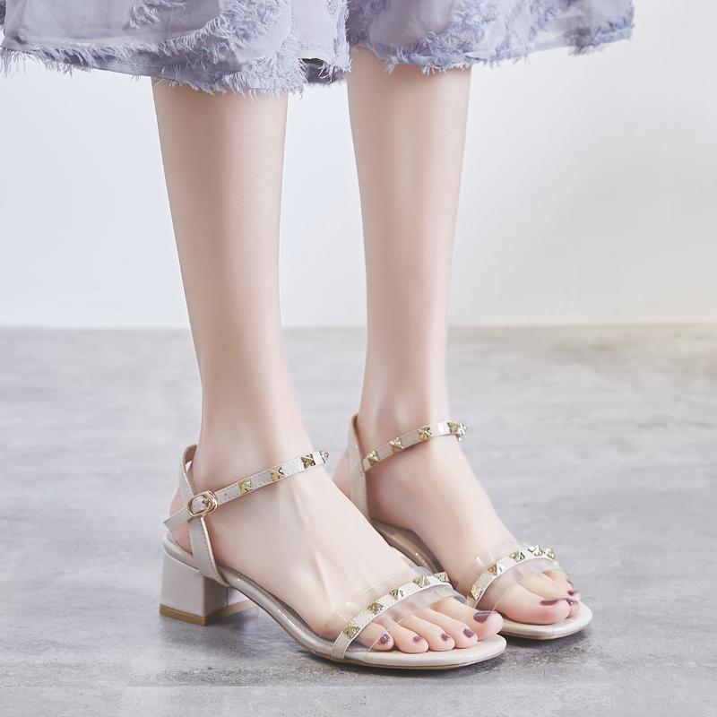 2020 Nueva Corea-Estilo Chunky talón de tacón alto de las mujeres de las sandalias para mujer sandalias Claro Zapatillas de verano tacones altos de las mujeres