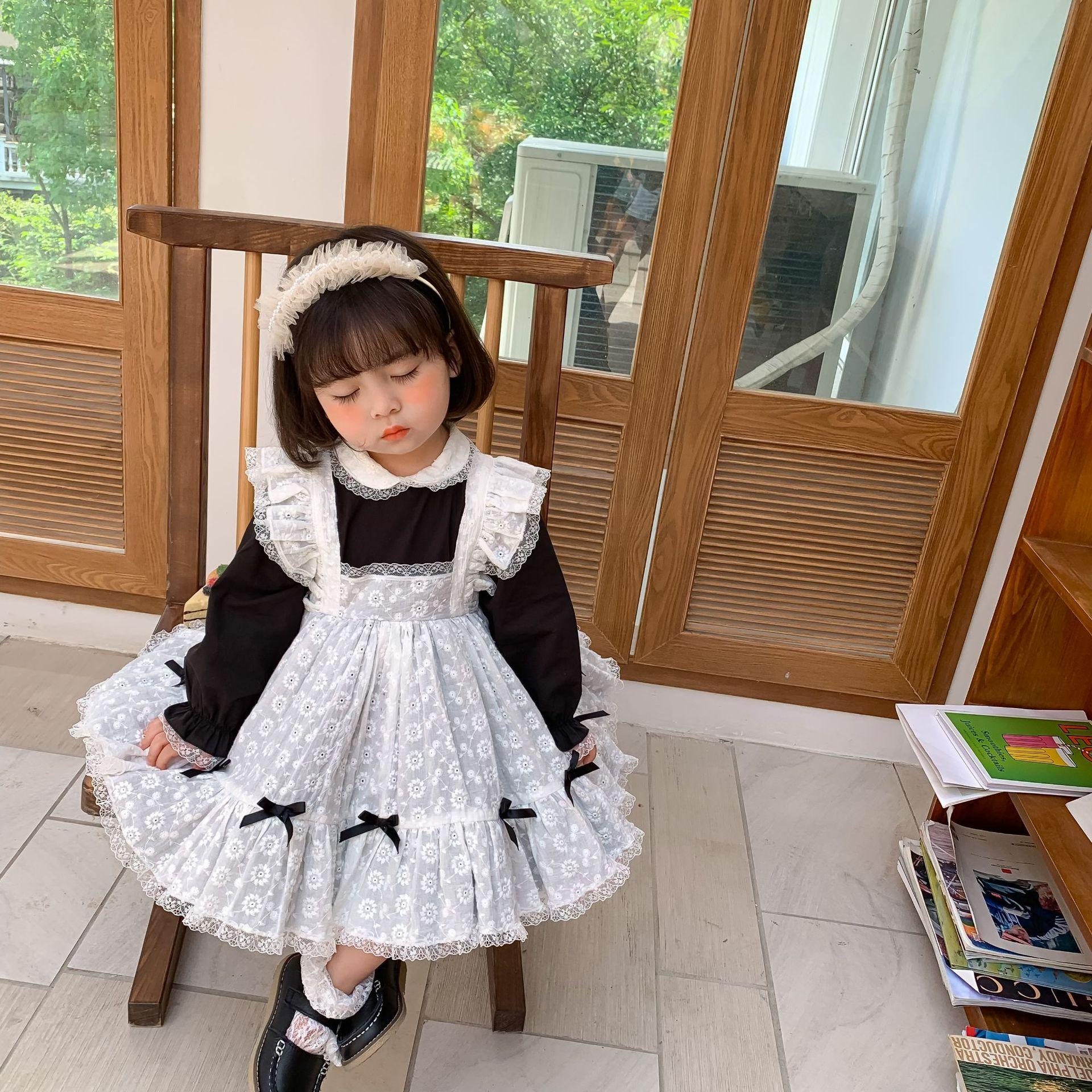 Palace style Baby girls maid dress 2020 fall new children lace laepl long sleeve pleated dress kids lace falbala fly sleeve bib dress A3688