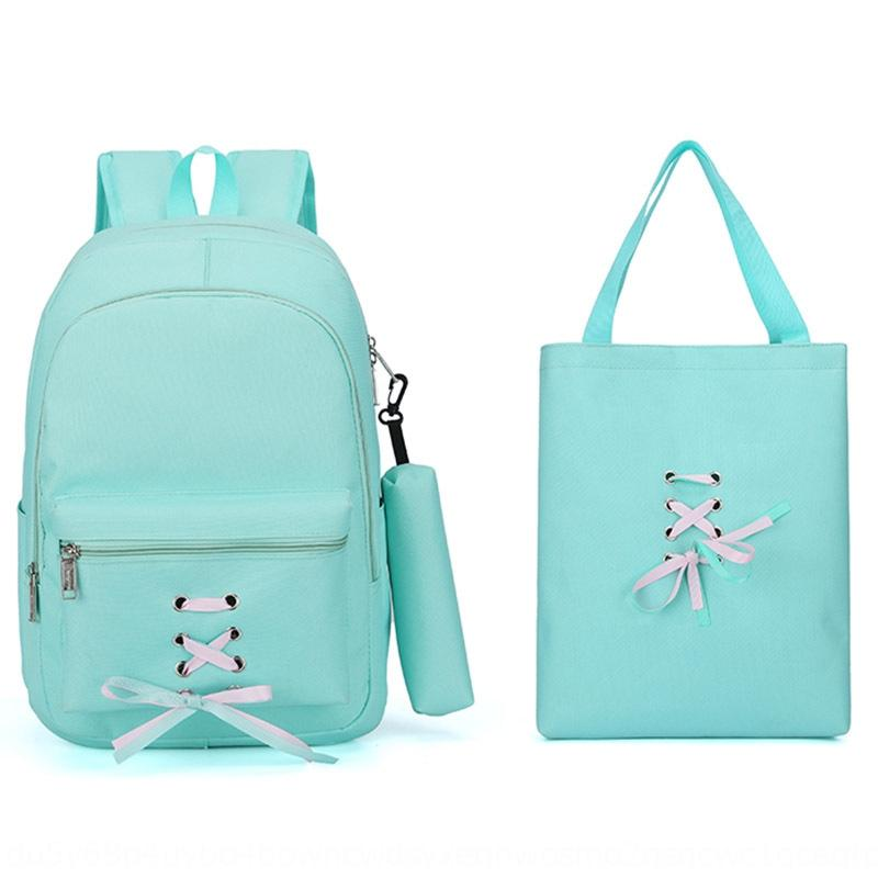 Новая мода покупки сумки холст банта лента женского рюкзака холст многослойной корейский рюкзак подарок сумка