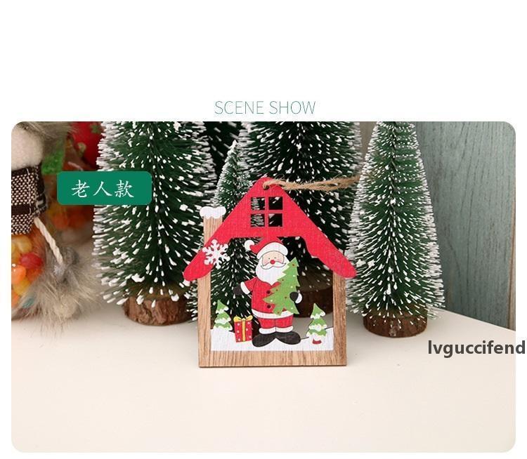 Decorações de Natal de laser embarcação de madeira da árvore de Natal oca pingente pequeno criativo nova Pendant