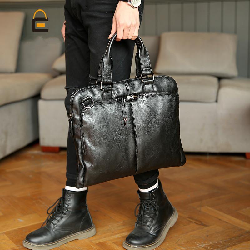 قفل مصمم أزياء نمط الكورية الرجال حقائب جلدية حقيبة جلد ناعم الكتف رسول حقائب ذكر عارضة الأعمال