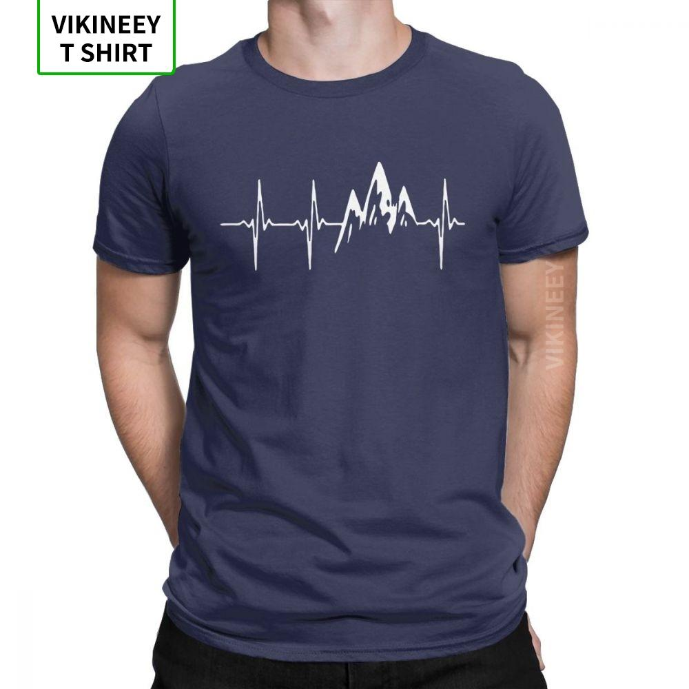 Mountain In My Heartbeat T-Shirt for Men Hiking Walking T Shirt Climbing Funny Graphic Tees Crewneck Cotton Fabric Clothes Gift
