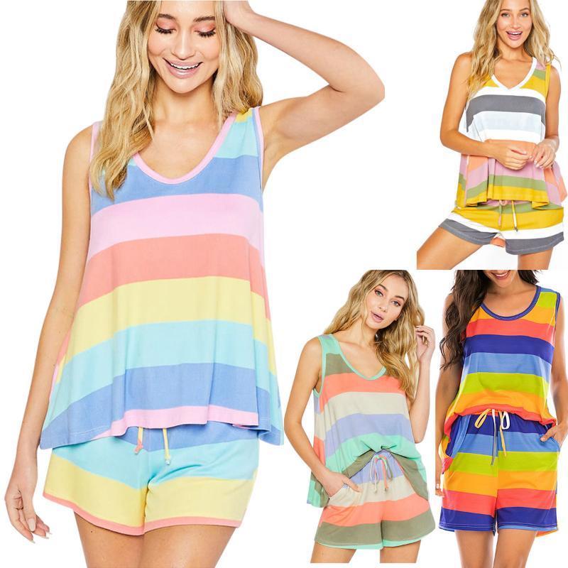 2020 Venta caliente Chaleco Tipo de dos piezas del vientre Cubiertas de la playa del traje de baño nuevo pijama de rayas Conjunto