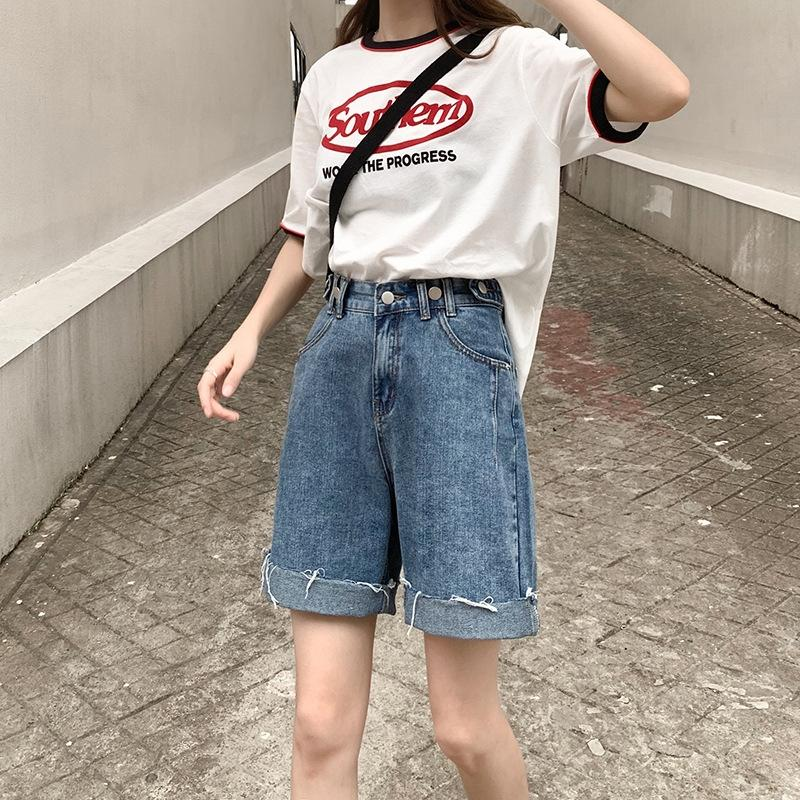 Летний новый большие шорты размер женщин жир мм высокой талии похудение широкий шорты широкий ноги брюки ноги потерять Denim обрезанные брюки все-матч