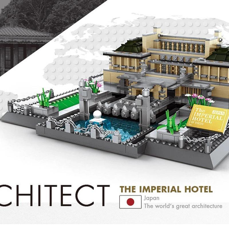 1375 шт строительных блоков Япония Imperial Hotel Токио модель всемирно известного город архитектура поделок кирпича монтажник ребенок модель дома подарки 04