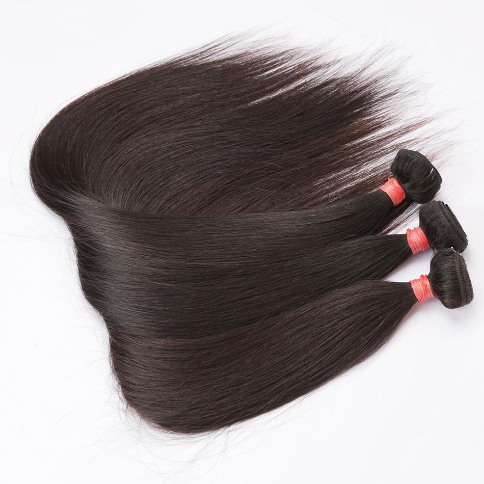 3 Pacotes retas extensões de cabelo 100% humano de Remy madeixas 10-26 Inch cabelo indiano Tece pode ser tingido