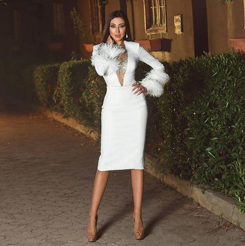 Sexy Sheer Plunging Neckline Beaded Prom Dresses with Feathers Long Sleeves Cocktail Party Gowns Knee Length Sheath Short Evening Dress