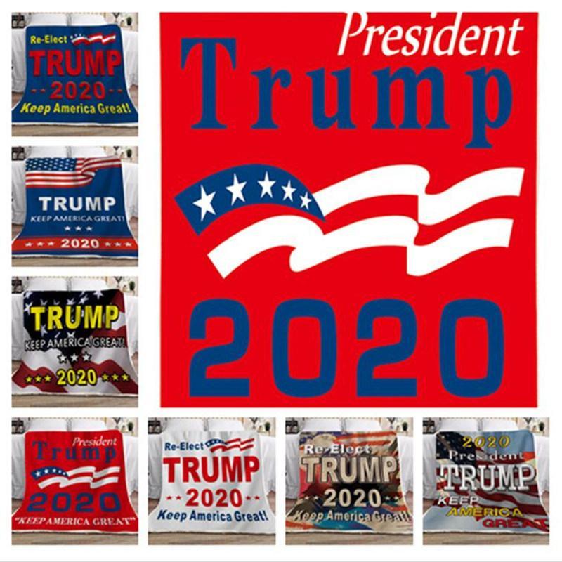 Çift Kalın Battaniye Trump 2020 TUTUN AMERİKA BÜYÜK Baskılı Battaniye kare Butik battaniye 130 * 150cm 2020 Başkan seçim D73003