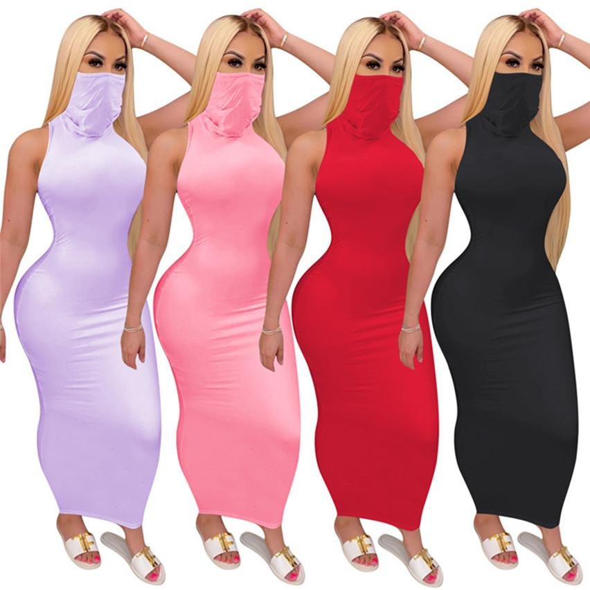 Women Summer Dresses One-piece 3192 Caual Mask Conjoined Maxi Fashion S-2xl Skirt Solid Bodycon Dresses Printed Dresses Sexy Color Robe Iene