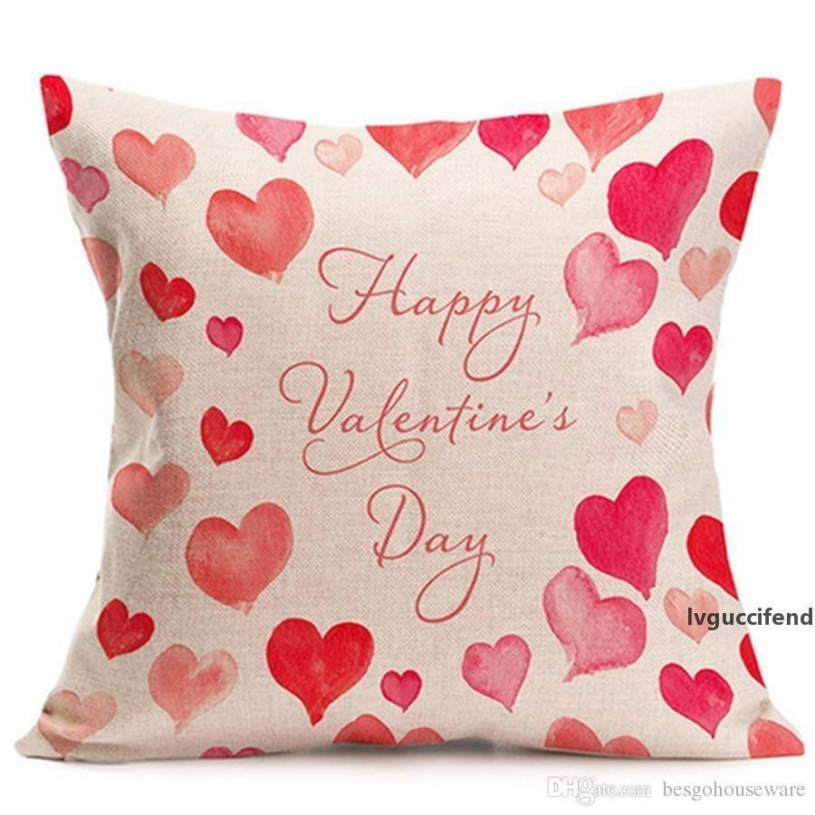 Una sola cara personalizada diseño de impresión de lino almohada Pareja rosa dulce de la tienda de café de almohada cubierta Inicio Sofá Funda de almohada BH0831 TQQ