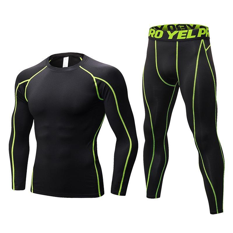 Новое Сжатие Tracksuit Фитнес Tight Sportswears Идущие Набор T-рубашка поножи мужская спортивная одежда Demix Gym Спортивный костюм
