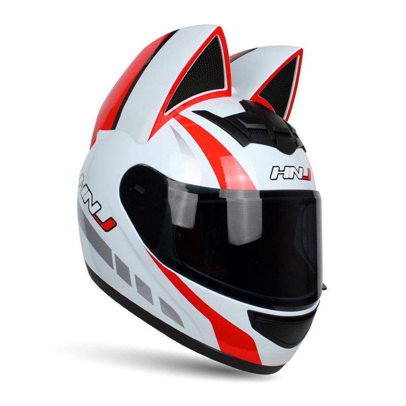 Oído motocicleta Mujeres casco integral Cascos Casco Moto del motocrós del gato Motociclismo Capacete Casque Riding Sombrero