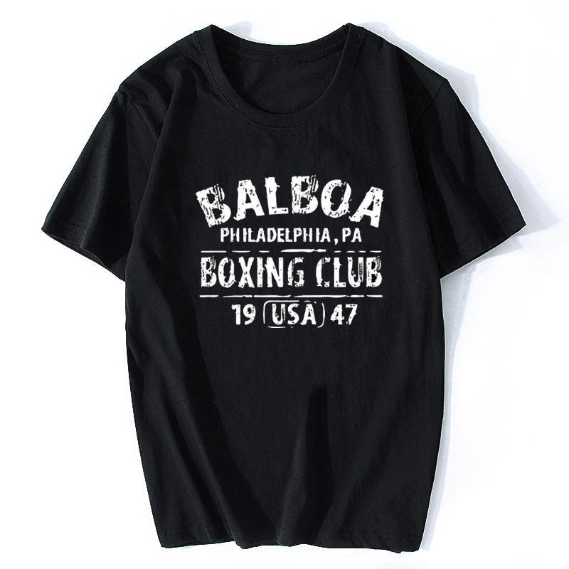 Рокки Бальбоа клуб бокса Филадельфия Pa T-Shirt Мужчина Печать Crewneck Новизна Фитнес рубашка Tshirt Камиз футболка