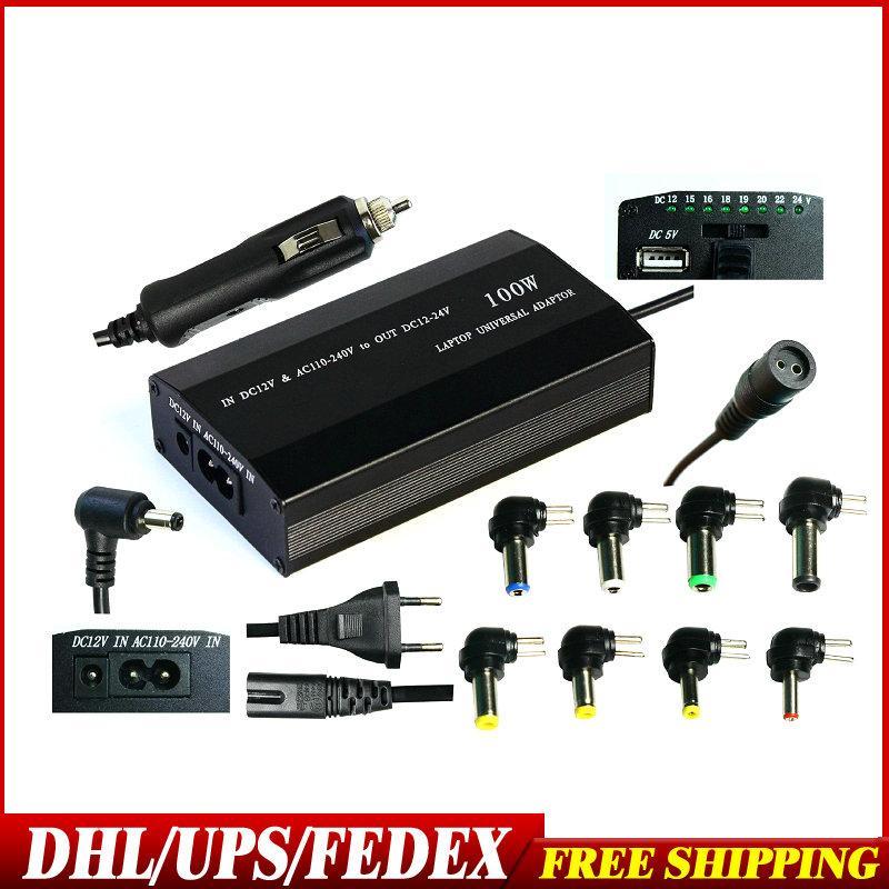 20Pcs / Lot EU / US / UK-Stecker 100W Universal Laptop AC-DC-Netzteil Kfz-Ladegerät für Mit Usb