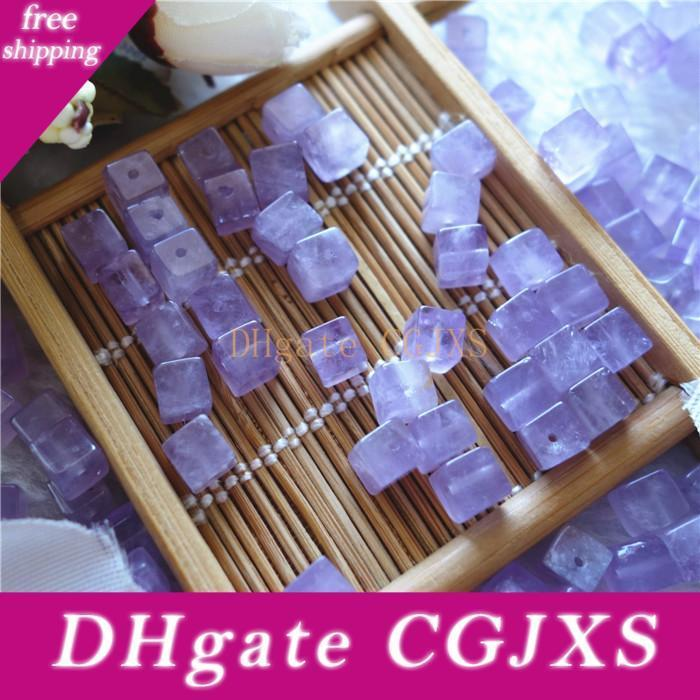 Cheap Natural Amethyst 6mm Cube With Through Hole Loose Beads Gemstones For Jewelry DIY 50pcs/lot