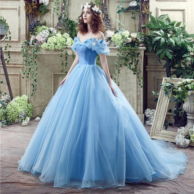 Newest Blue Cinderella Quinceanera Dresses 2020 Sweet 16 Pageant Prom Debutante Dress Formal Evening Party Gowns