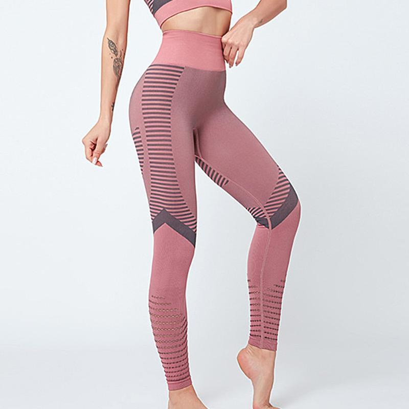 Yoga Outfits Geometric Designed Sports Leggings With Tops Matching Seamless Pants Activewear Jogging Suits