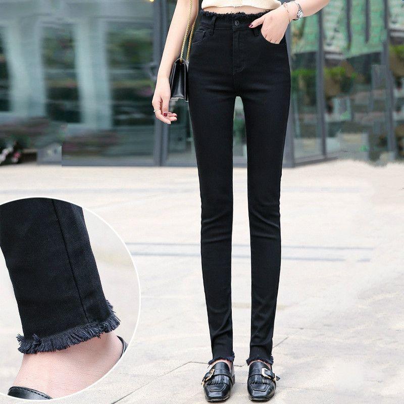 Compre Mujeres Negro Flaco Lapiz De Los Pantalones Largos 170 185cm Alto Ninas Altura De La Cintura De Los Pantalones Vaqueros Mas El Tamano De Tela Vaquera Envejecida Pantalon Invierno 2020 A