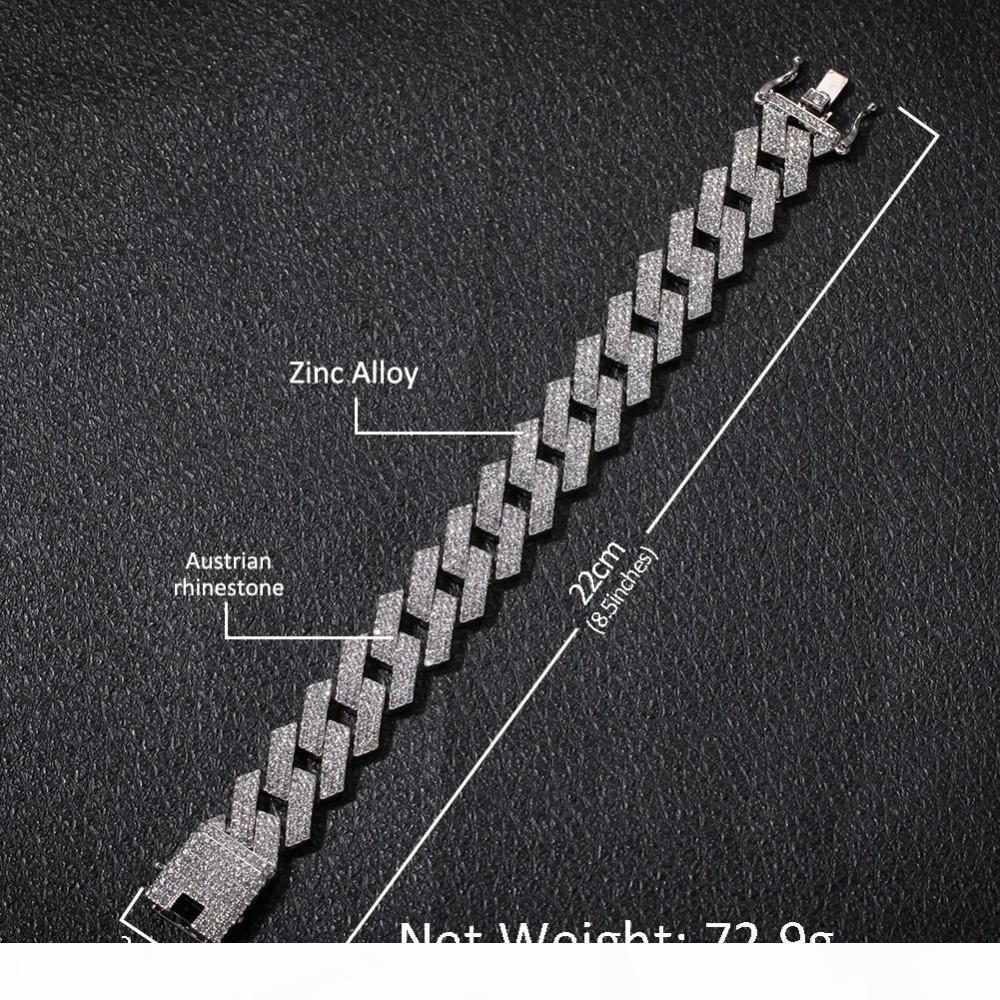 UWIN 20MM الشق الكوبية وصلة سلاسل قلادة أزياء الهيب هوب المجوهرات 3 صف أحجار الراين مثلج خارج القلائد للرجال MX190730