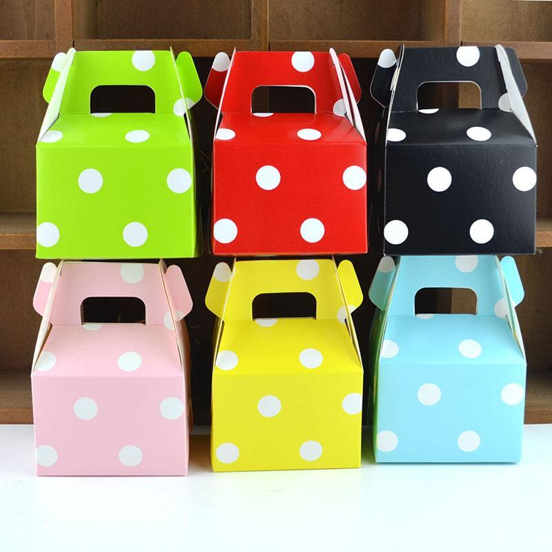 10PCS kreative Farben-Punkt-Süßigkeit-Kasten Einfaches Kuchen-Biskuit-Kasten-Hochzeit Ba Baby-Showrr Geschenke Kraft Paper Bag